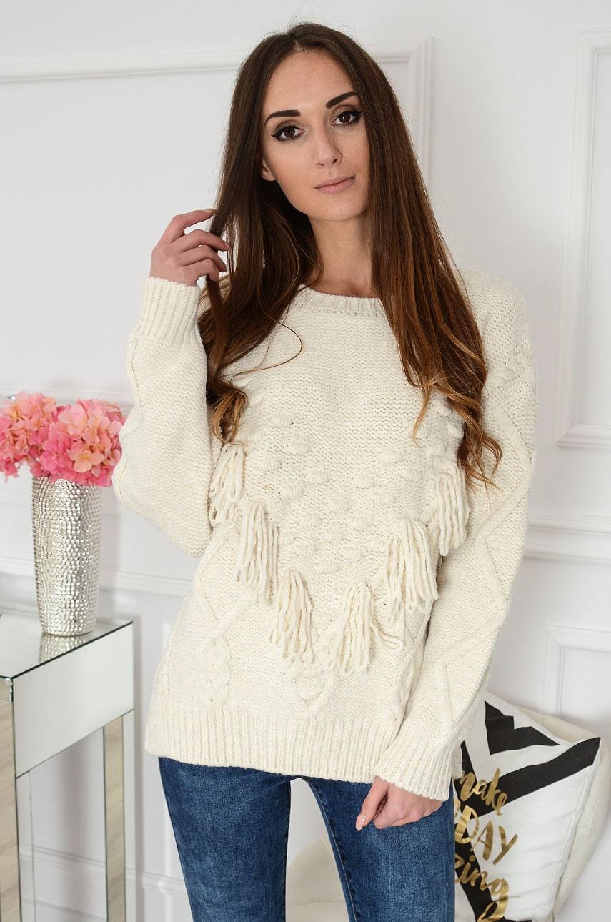 Sweter oversize z frędzlami wzór 3D kremowy Dorrel Rozmiar: UNI
