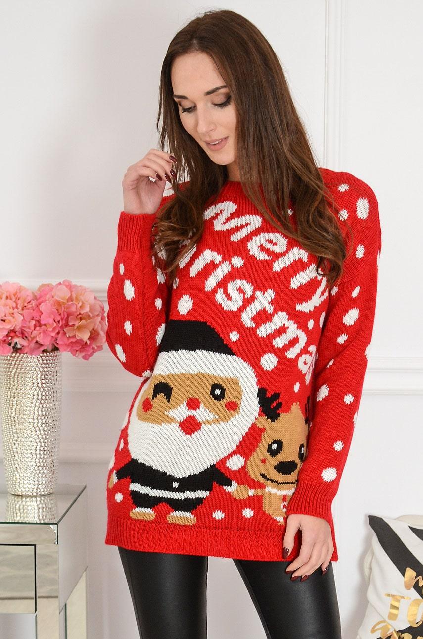 Sweter ze świątecznym motywem czerwony Santa Claus Rozmiar: UNI