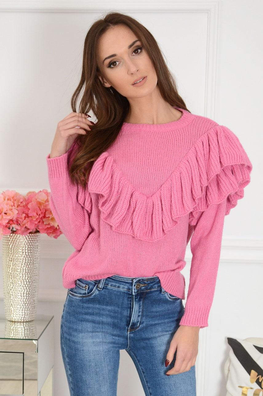 Miękki sweter z falbanami różowy Lilian Rozmiar: UNI