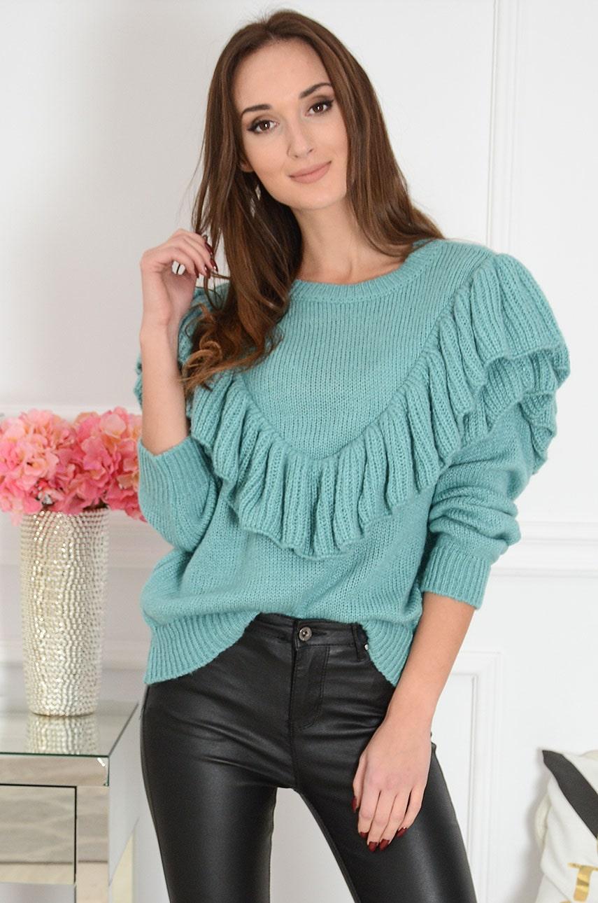 Miękki sweter z falbanami turkusowy Lilian Rozmiar: UNI