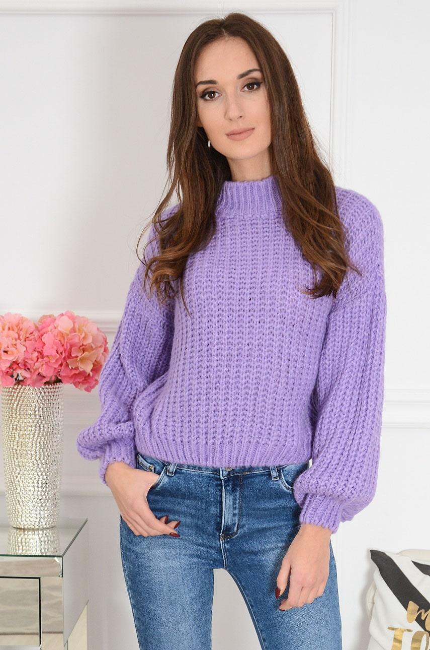 Krótki sweter grubo pleciony bufiaste rękawy lawendowy Tyber Rozmiar: UNI