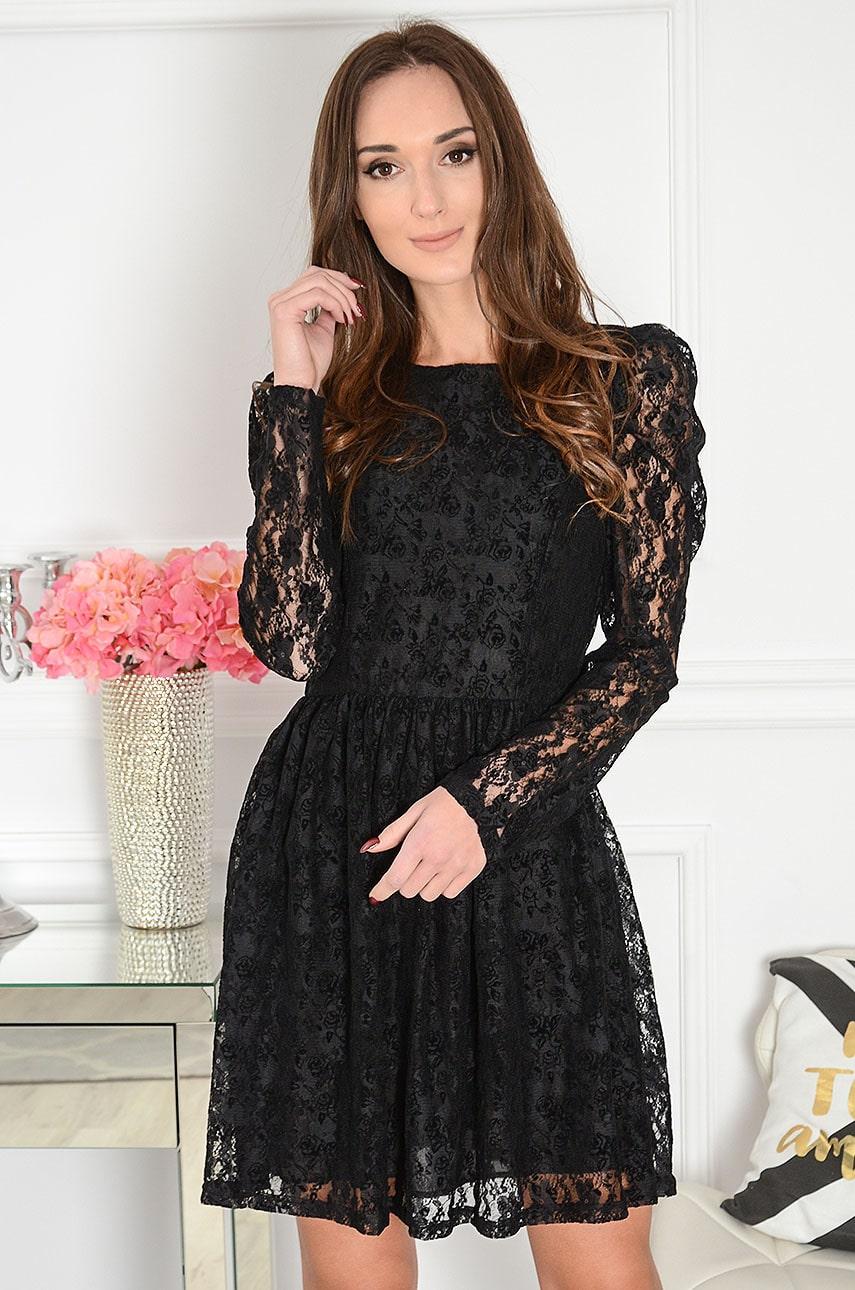 Sukienka koronkowa w welurowe kwiaty czarna Melisa Rozmiar: M