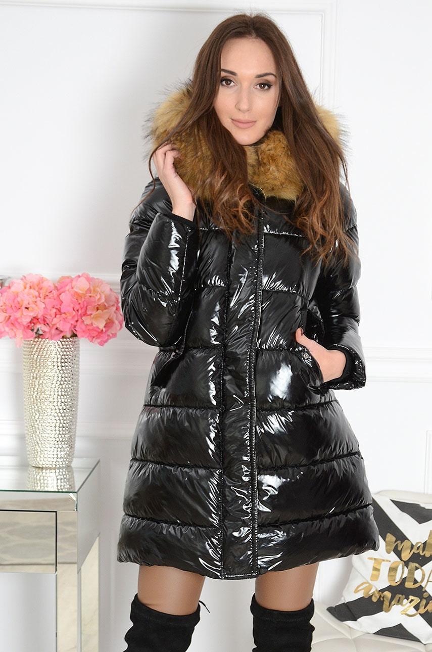 kurtka pikowana z futerkiem