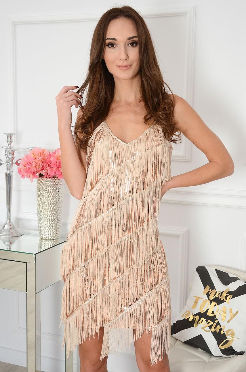 Sukienka cekinowa z frędzlami różowe złoto Shine Rozmiar: UNI
