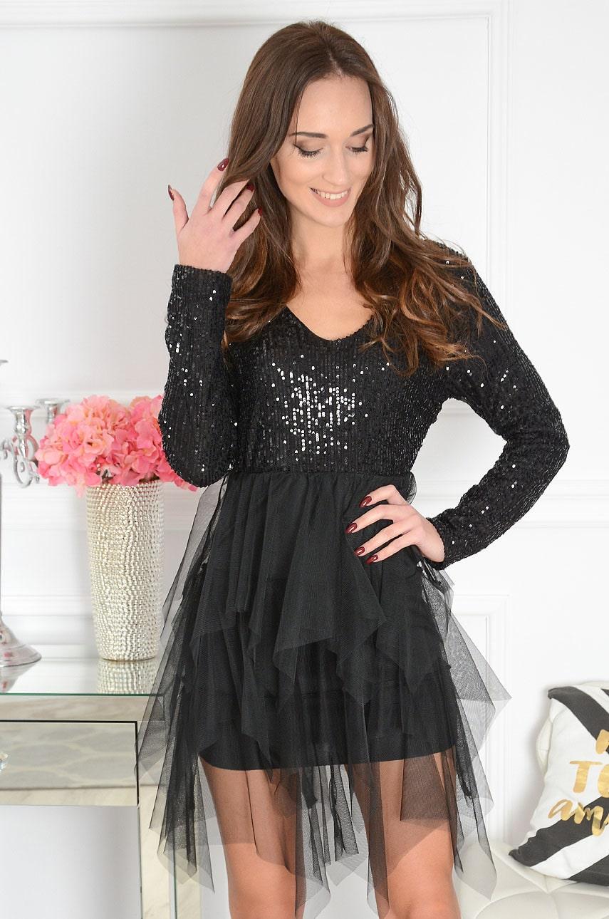 Sukienka z tiulowych falban cekinowa czarna Alaska Rozmiar: UNI