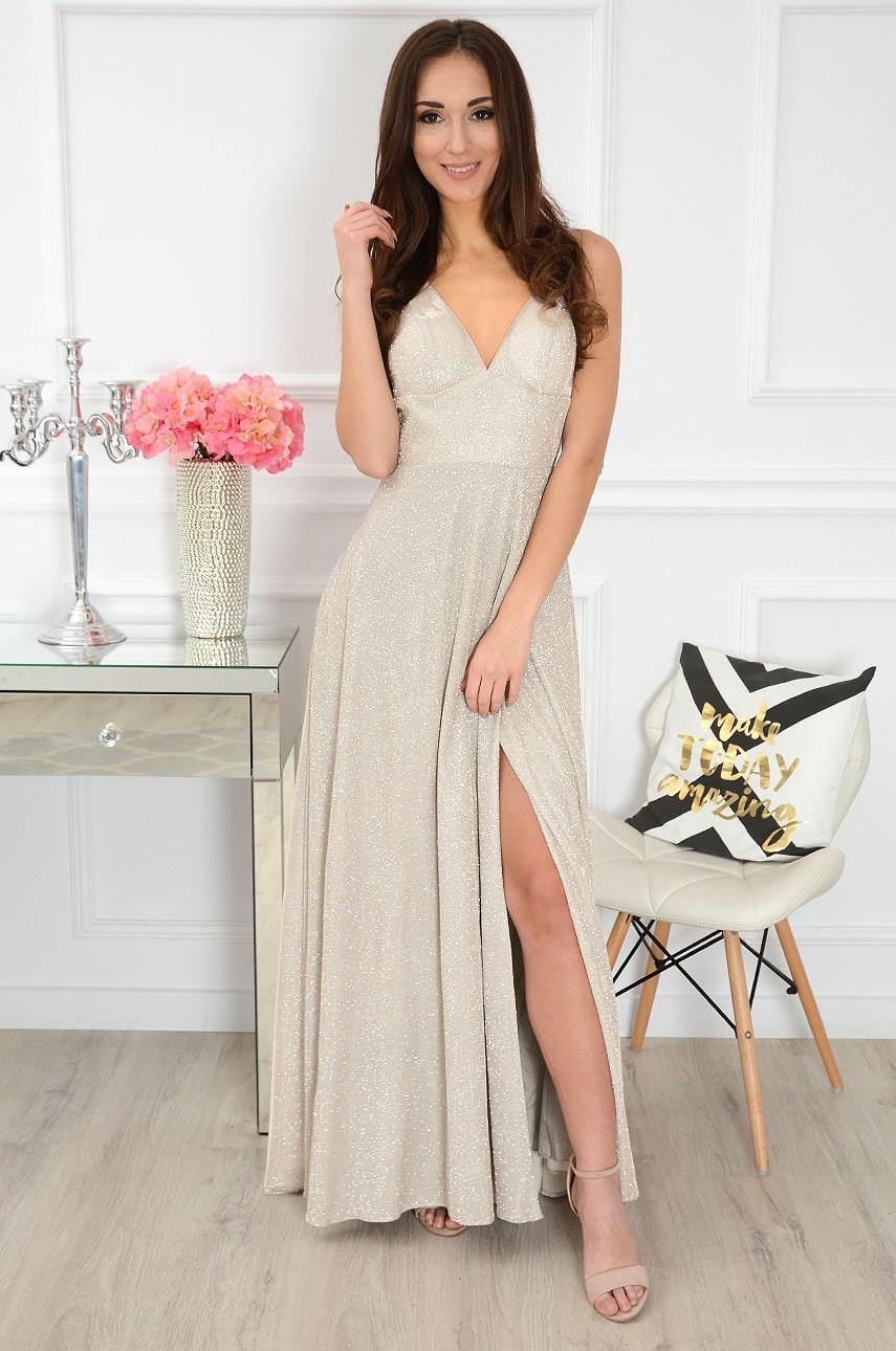 Sukienka maxi błyszcząca na ramiączkach beżowa Doria Rozmiar: S