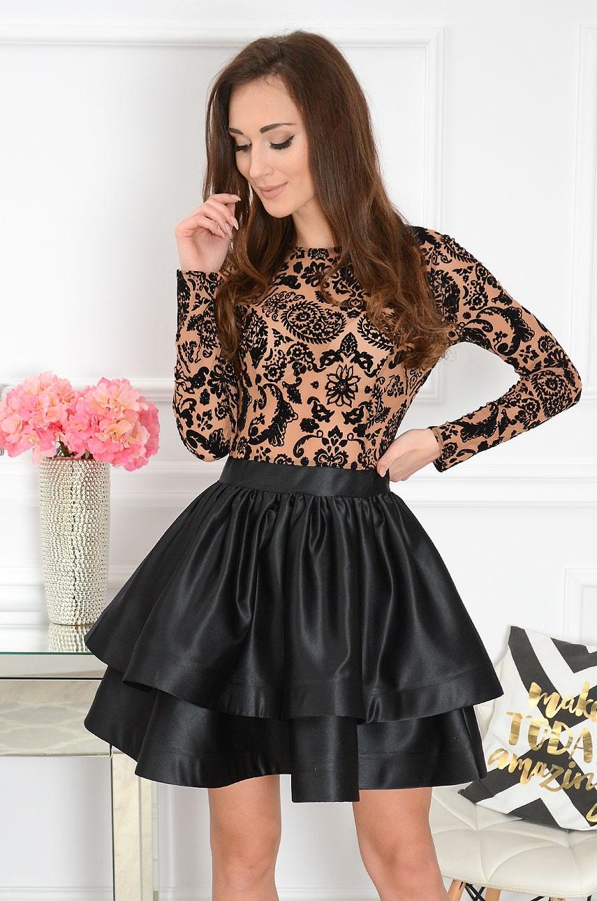 Sukienka z podwójną falbaną ozdobna góra czarna-kamel Cashmere Rozmiar: XS