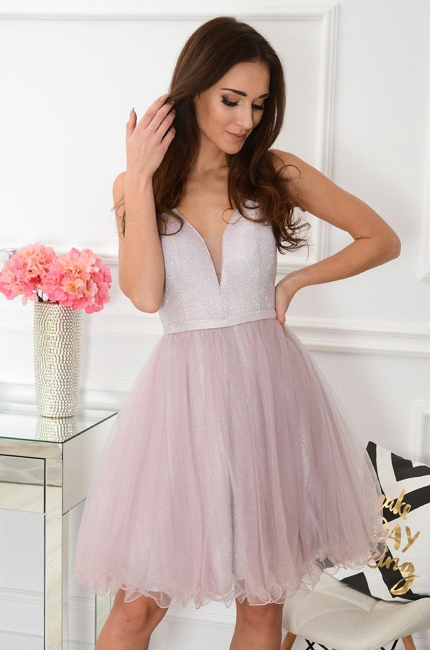 Sukienka błyszcząca z tiulem pudrowy róż Latifa Rozmiar: M/L