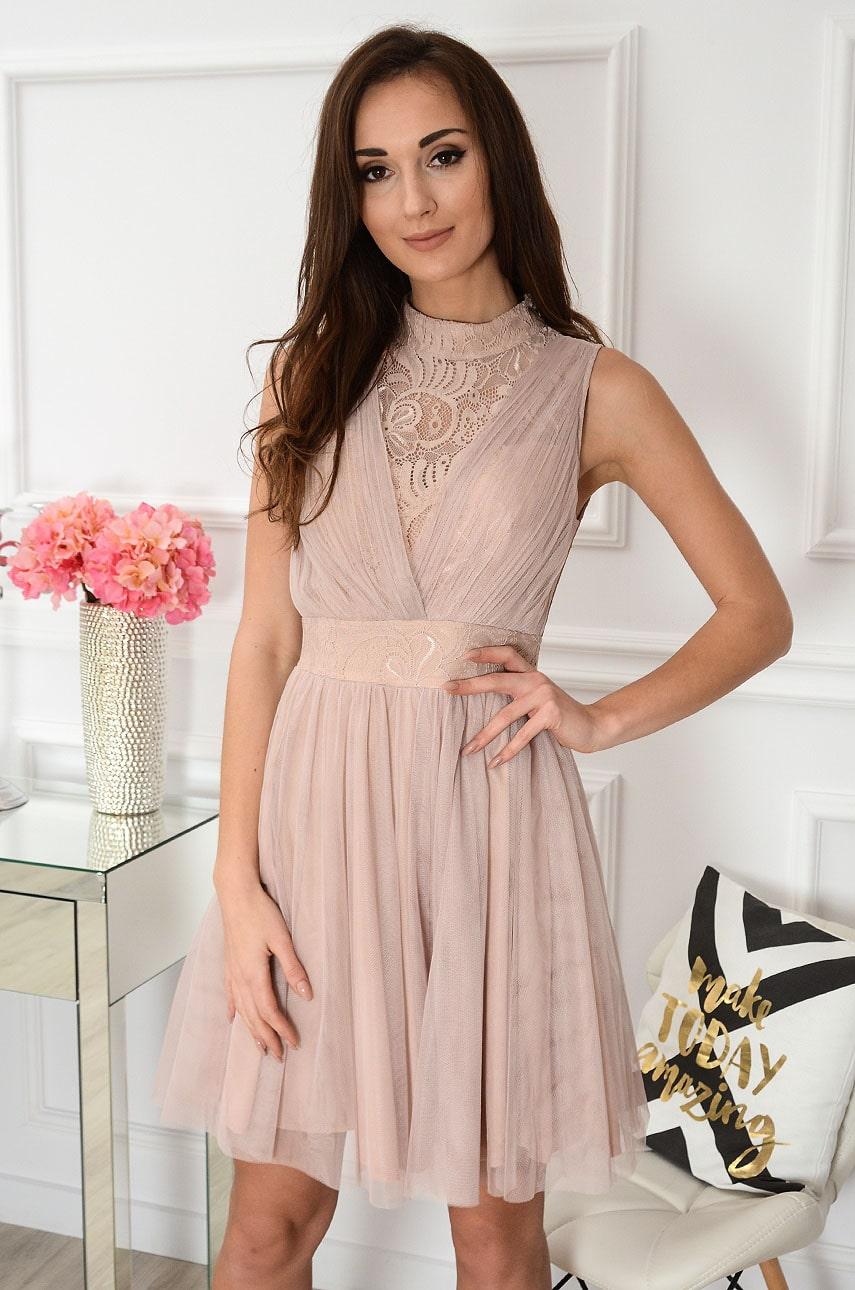 Sukienka z tiulu i koronki pudrowy beż Amina Rozmiar: L