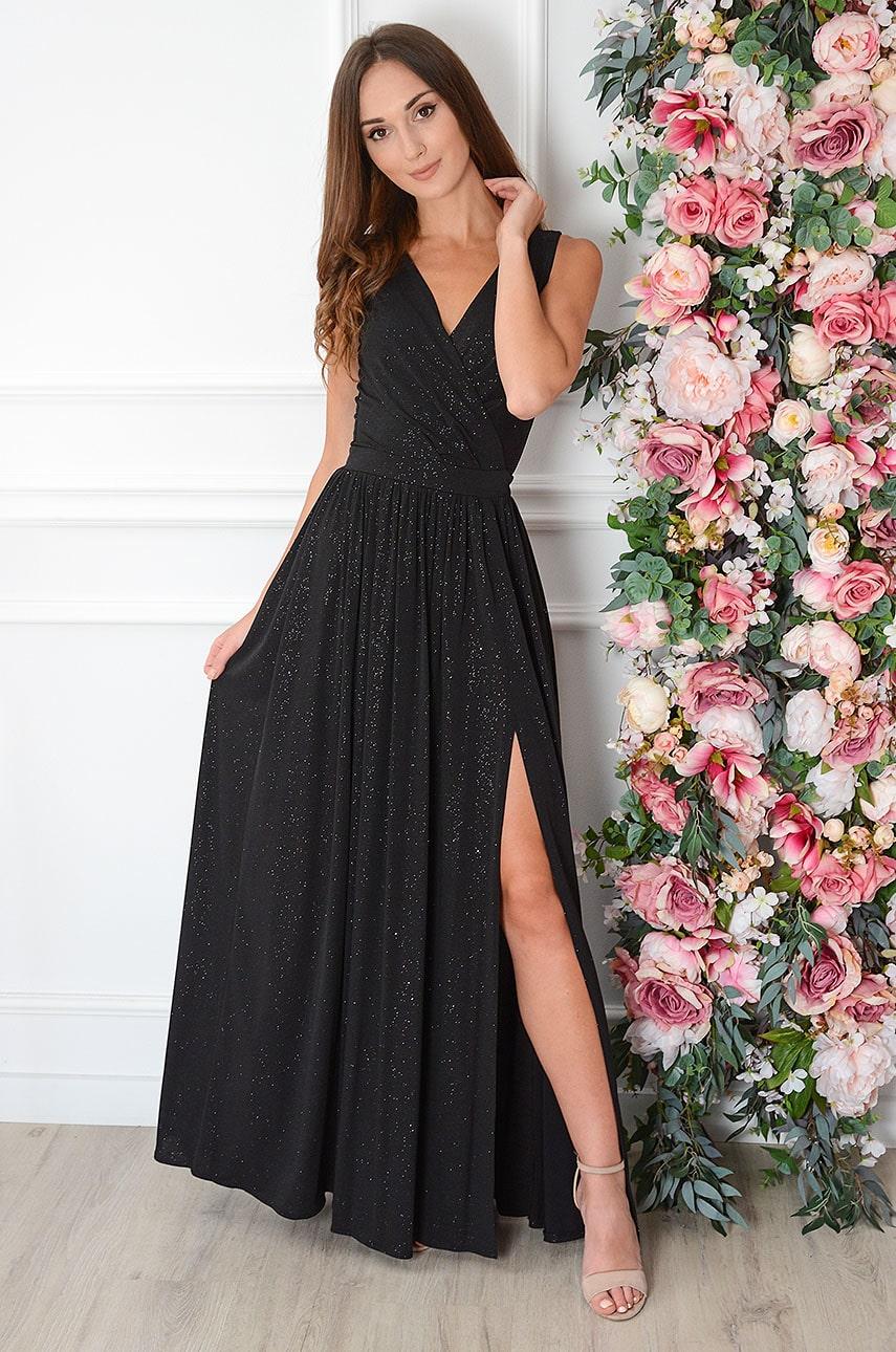 Sukienka maxi brokatowa czarna Lukrecja Rozmiar: S