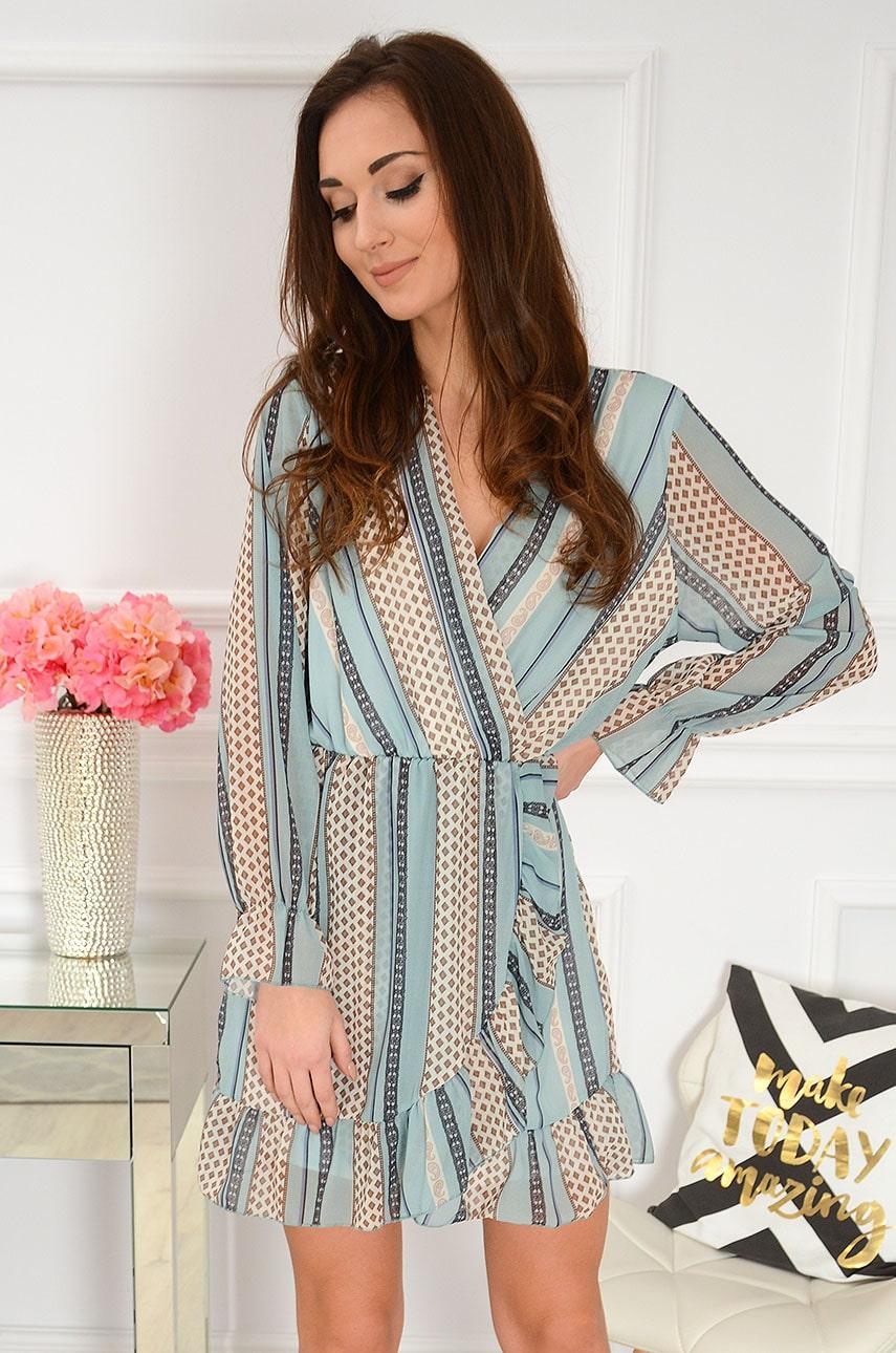 Sukienka szyfonowa we wzorzyste pasy miętowa Pallavi Rozmiar: UNI