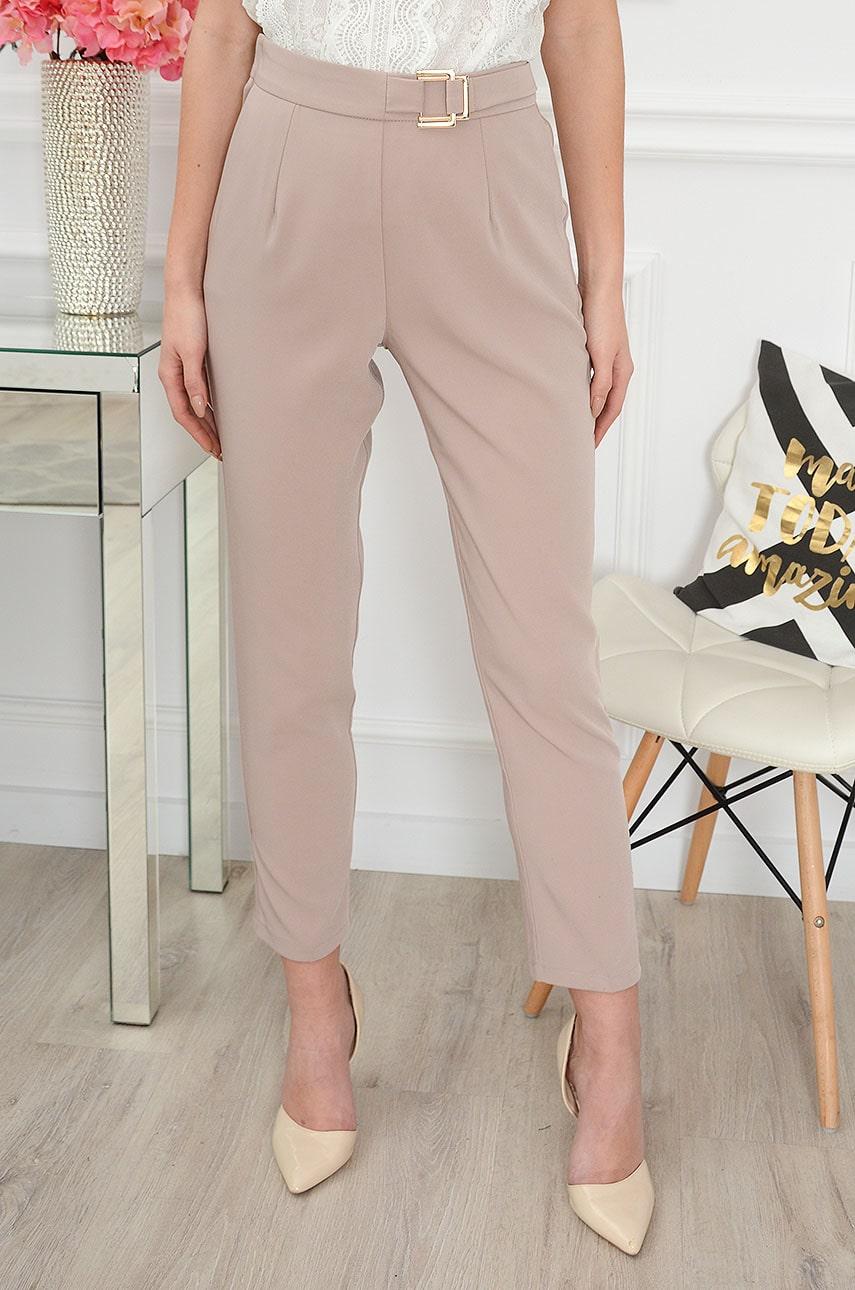 Eleganckie spodnie ze złotą klamrą beżowe Vinati Rozmiar: L