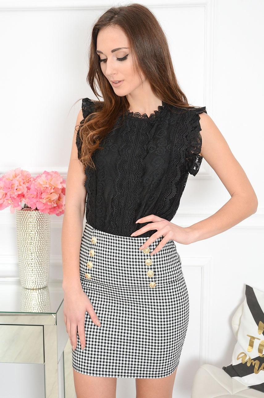 Elegancka bluzka z koronki czarna Welle Rozmiar: S