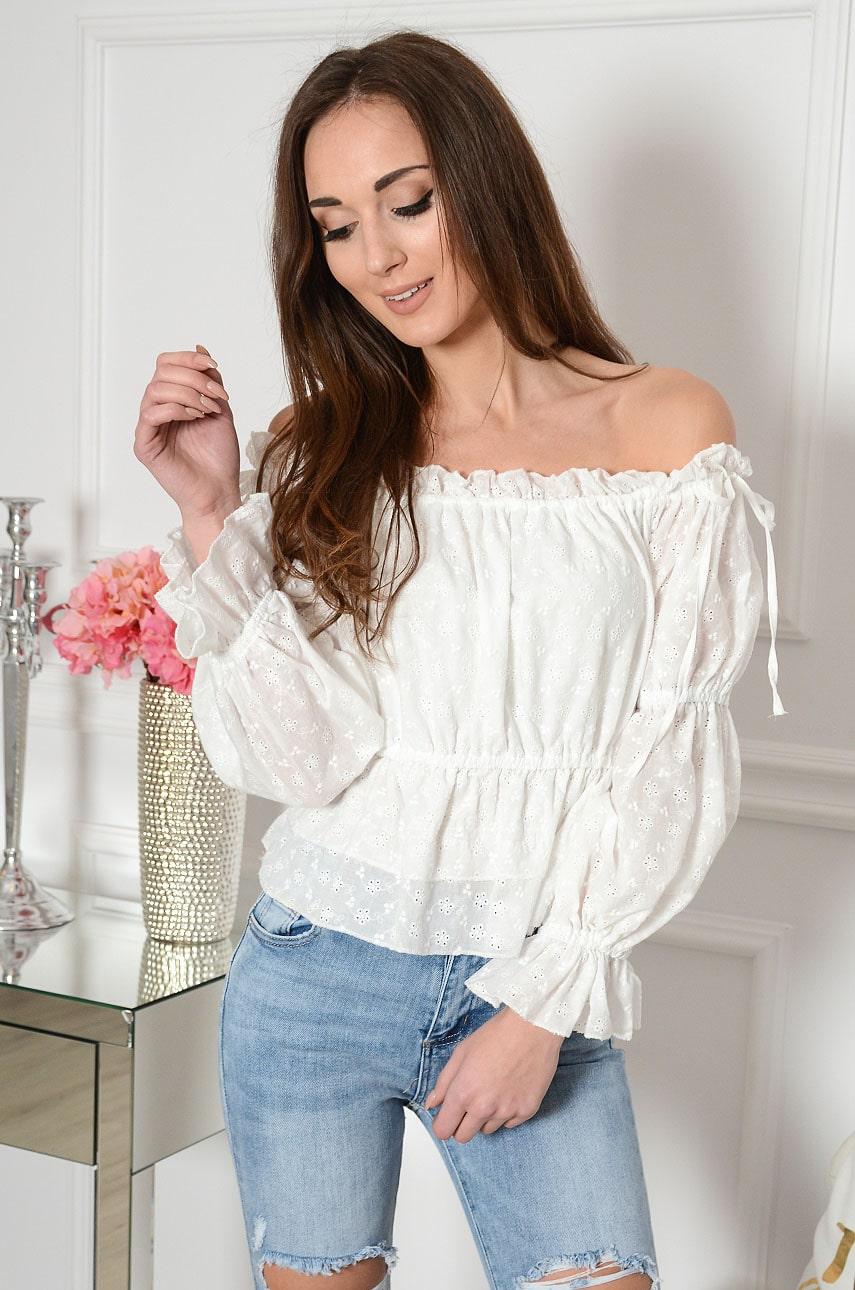 Krótka bluzka hiszpanka boho marszczona biała Tiya Rozmiar: L/XL