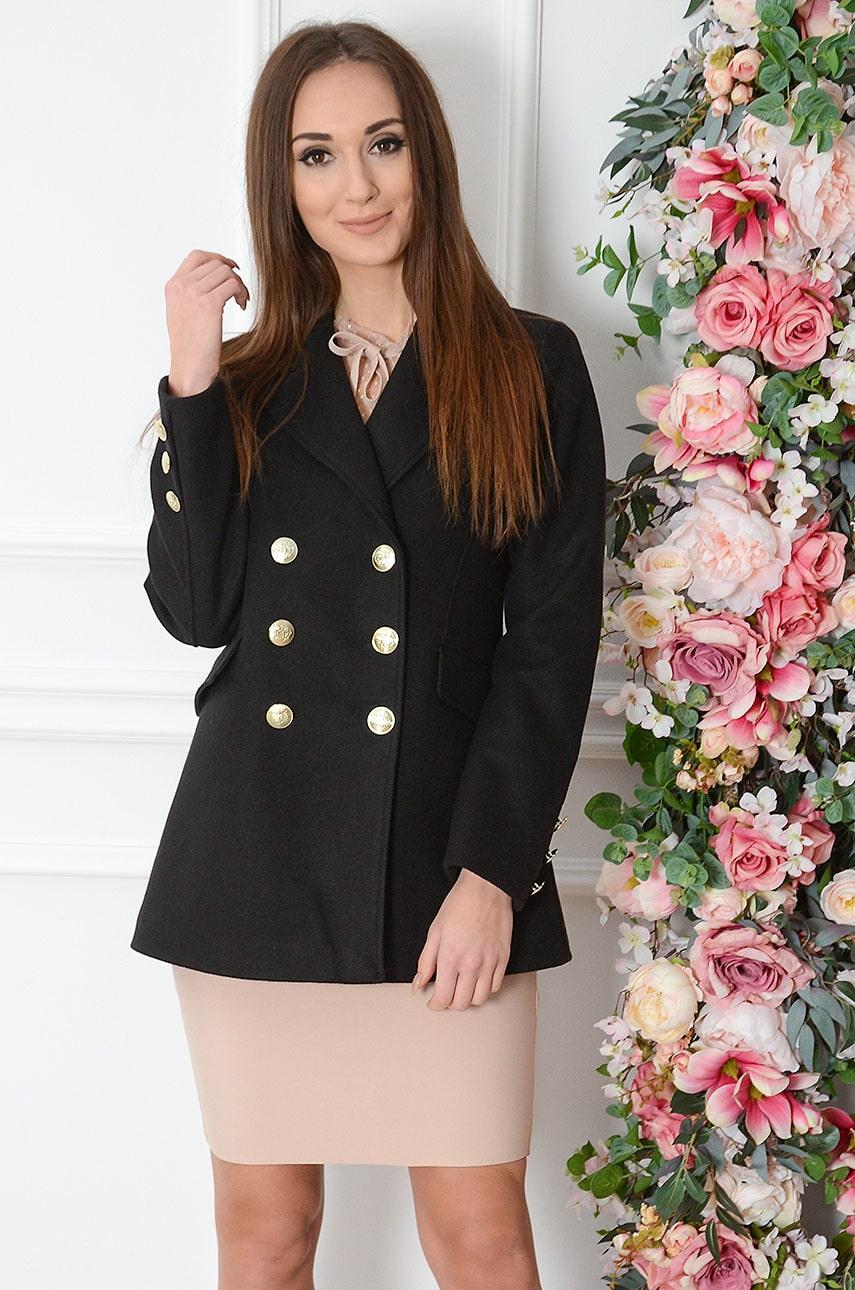 Krótki elegancki płaszcz dwurzędowy czarny Sammy Rozmiar: L