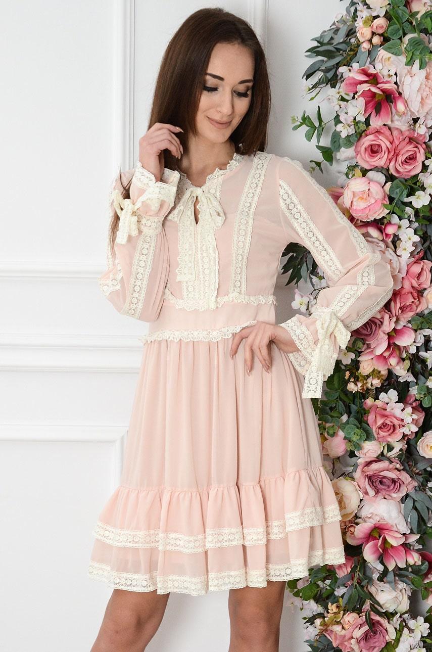 Sukienka boho z jasno beżowymi wstawkami pudrowa Achacja Rozmiar: S