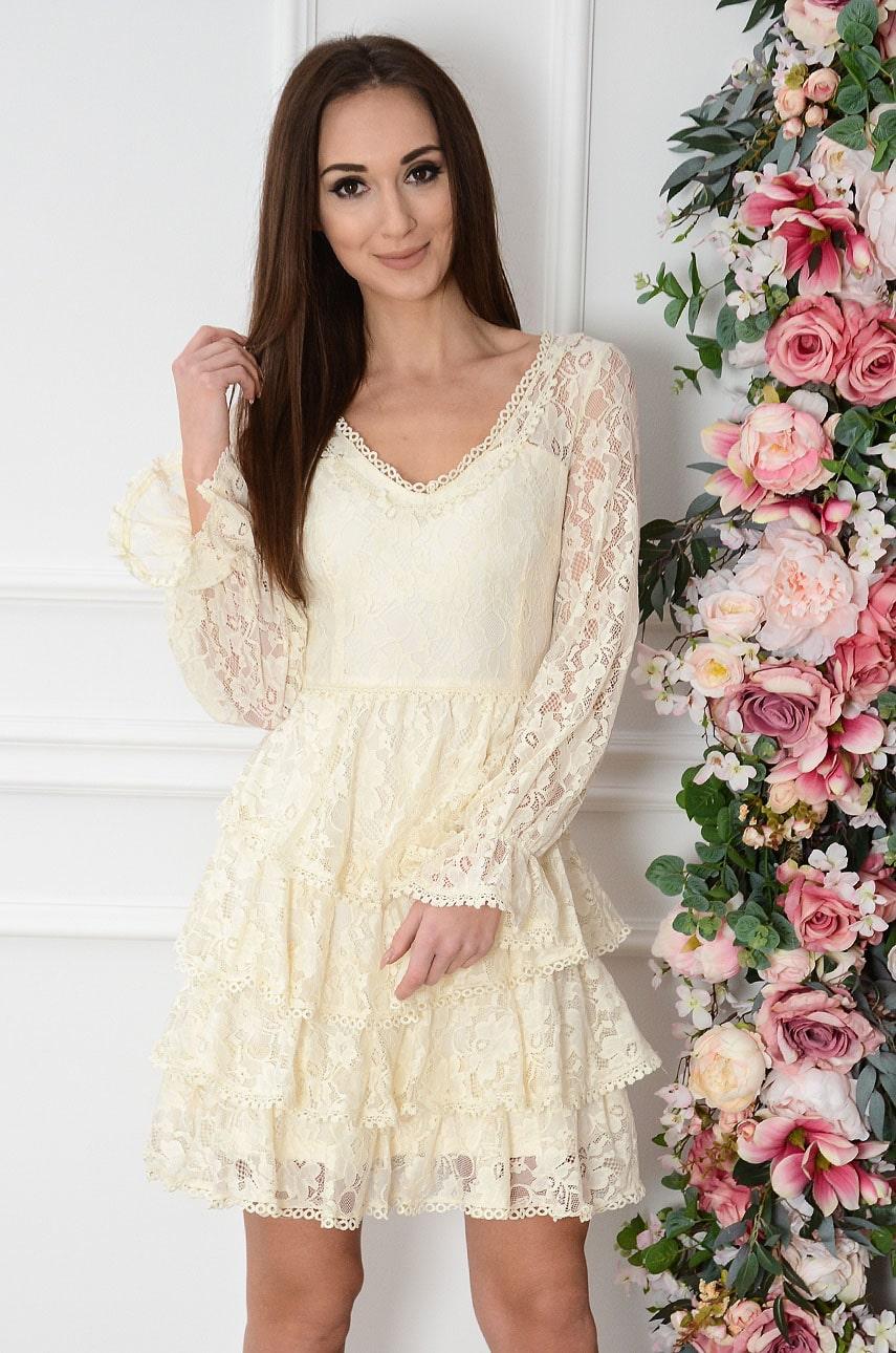 Sukienka koronkowa z falban jasny beż Felicia Rozmiar: S