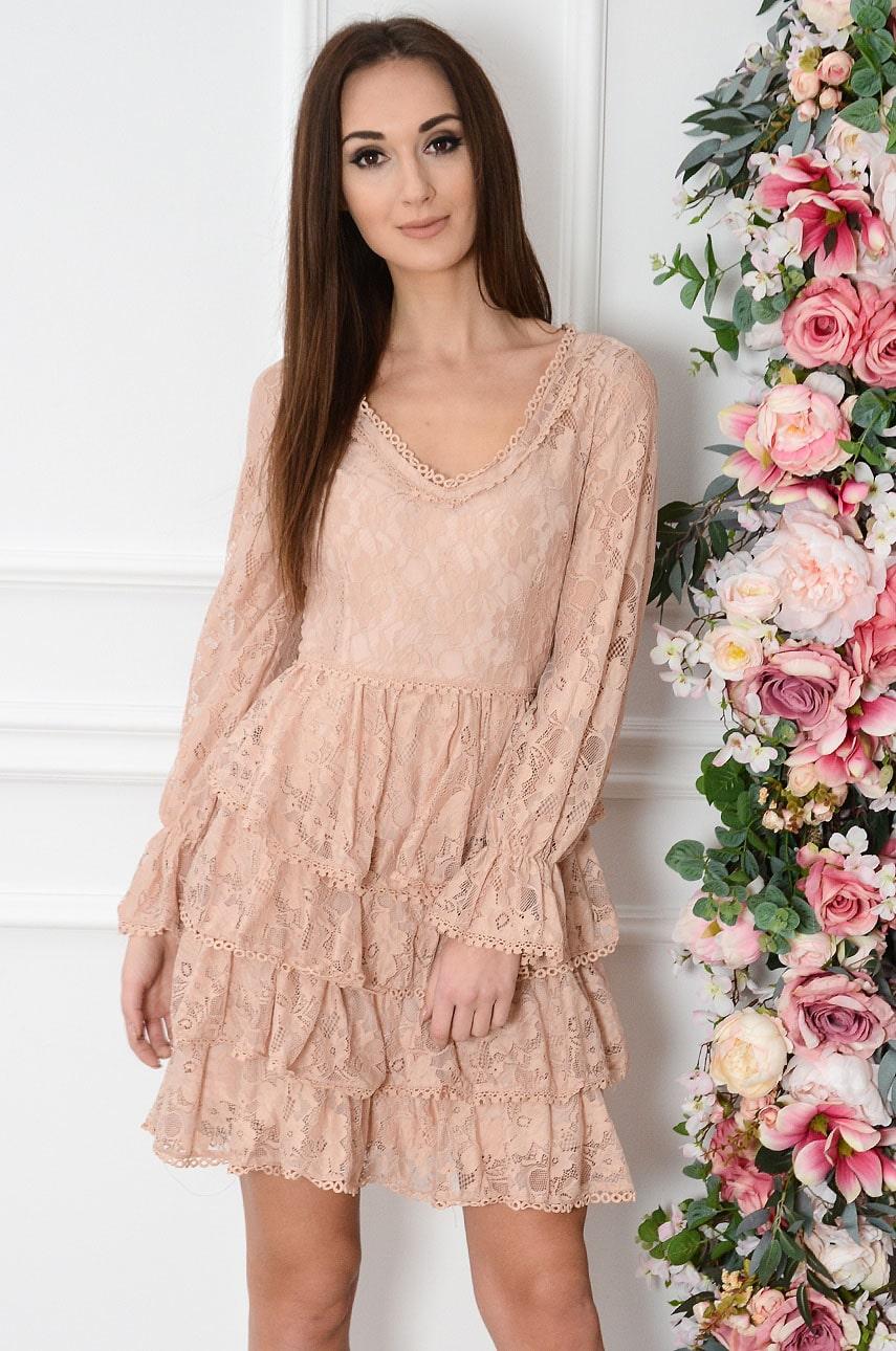 Sukienka koronkowa z falban brudny róż Felicia Rozmiar: S