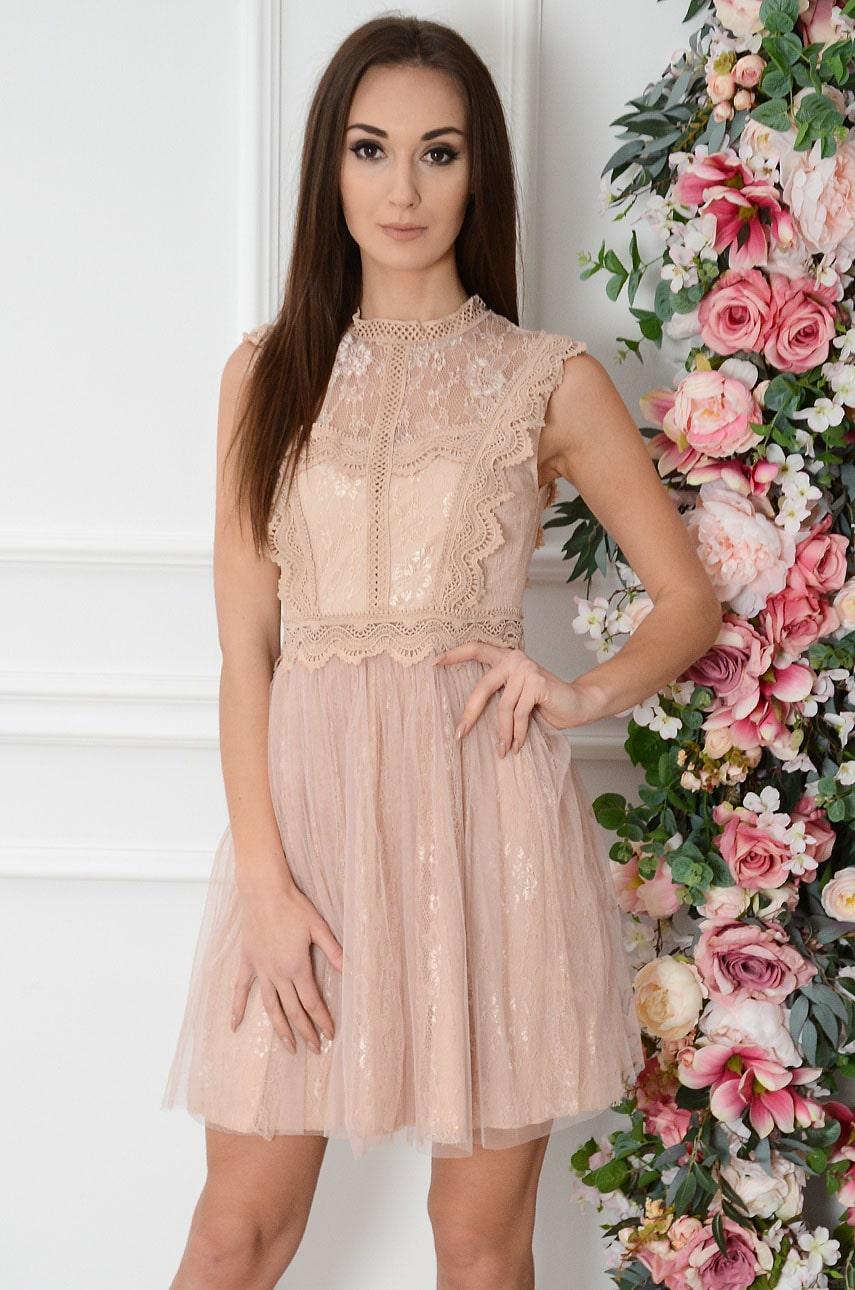 Sukienka z koronki i tiulu brudny róż Lucia Rozmiar: M