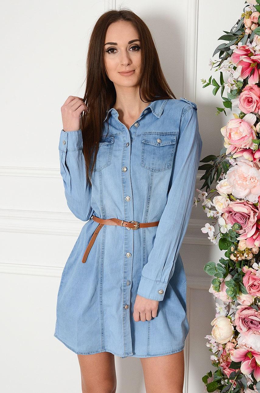 Sukienka jeansowa z paskiem na guziki Poisson Rozmiar: S