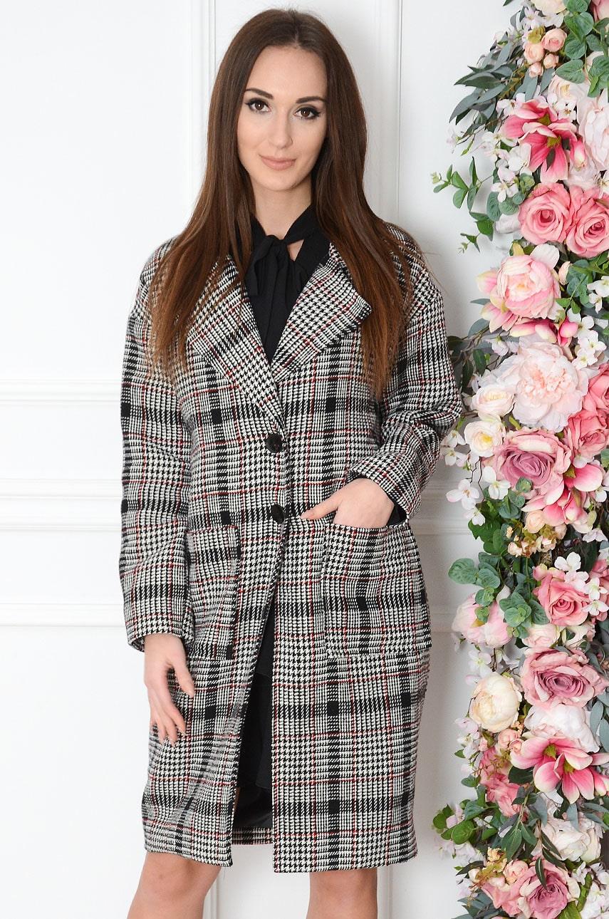 Elegancki płaszcz w kratę czarno-biały Domani Rozmiar: S