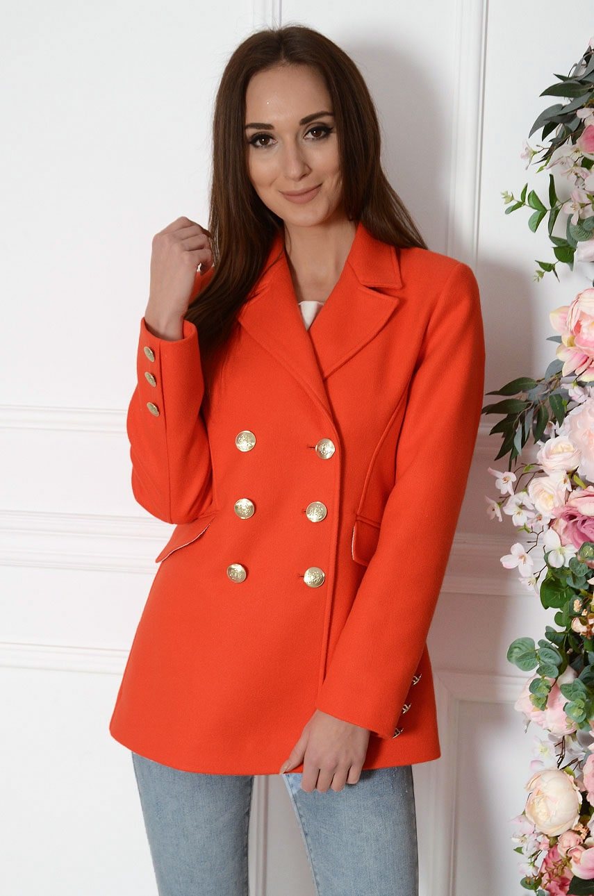 Krótki elegancki płaszcz dwurzędowy orange Sammy Rozmiar: S