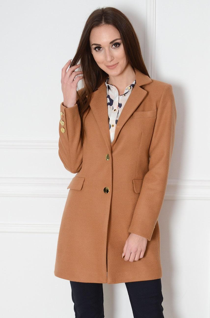 Elegancki płaszcz złote guziki kamel Terry Rozmiar: XL