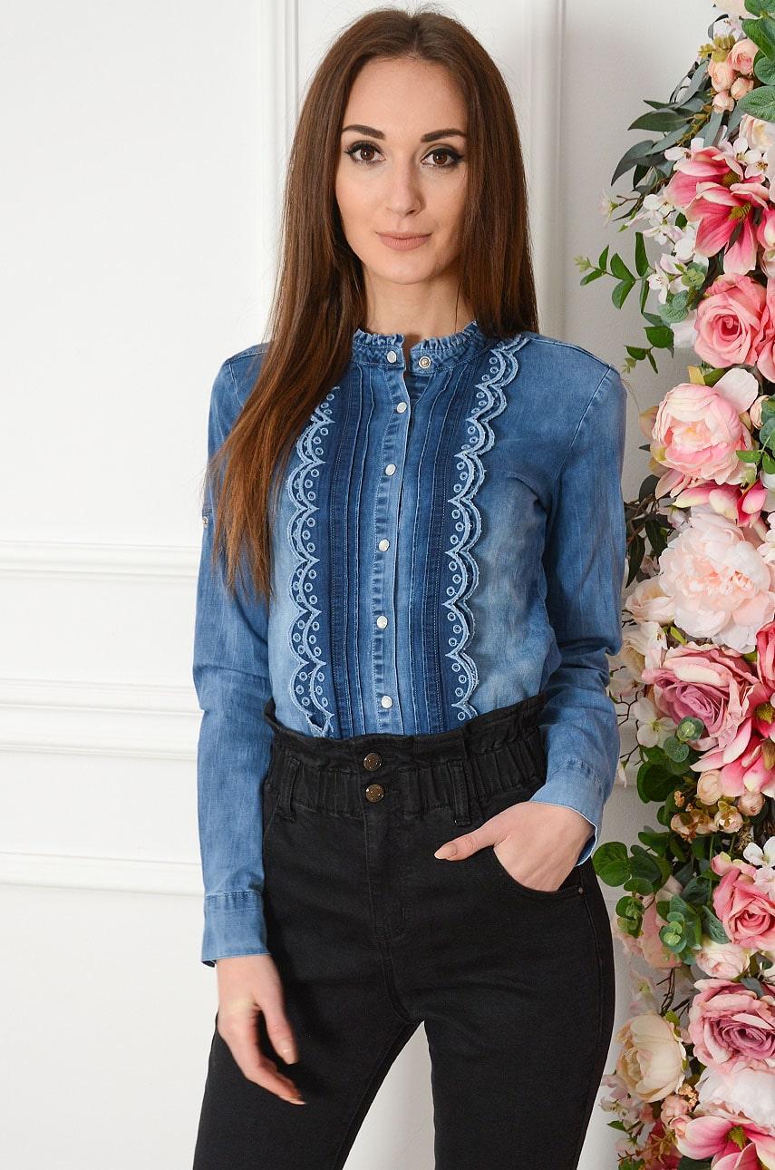Koszula jeansowa z ozdobnymi plisami ciemny jeans Lapin Rozmiar: XS