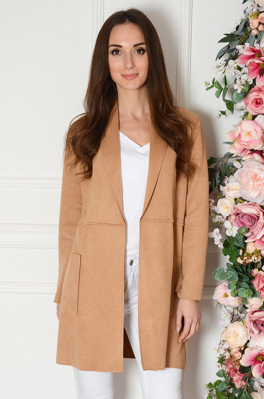 Płaszcz zamszowy z dużymi kieszeniami kamel Frances Rozmiar: UNI