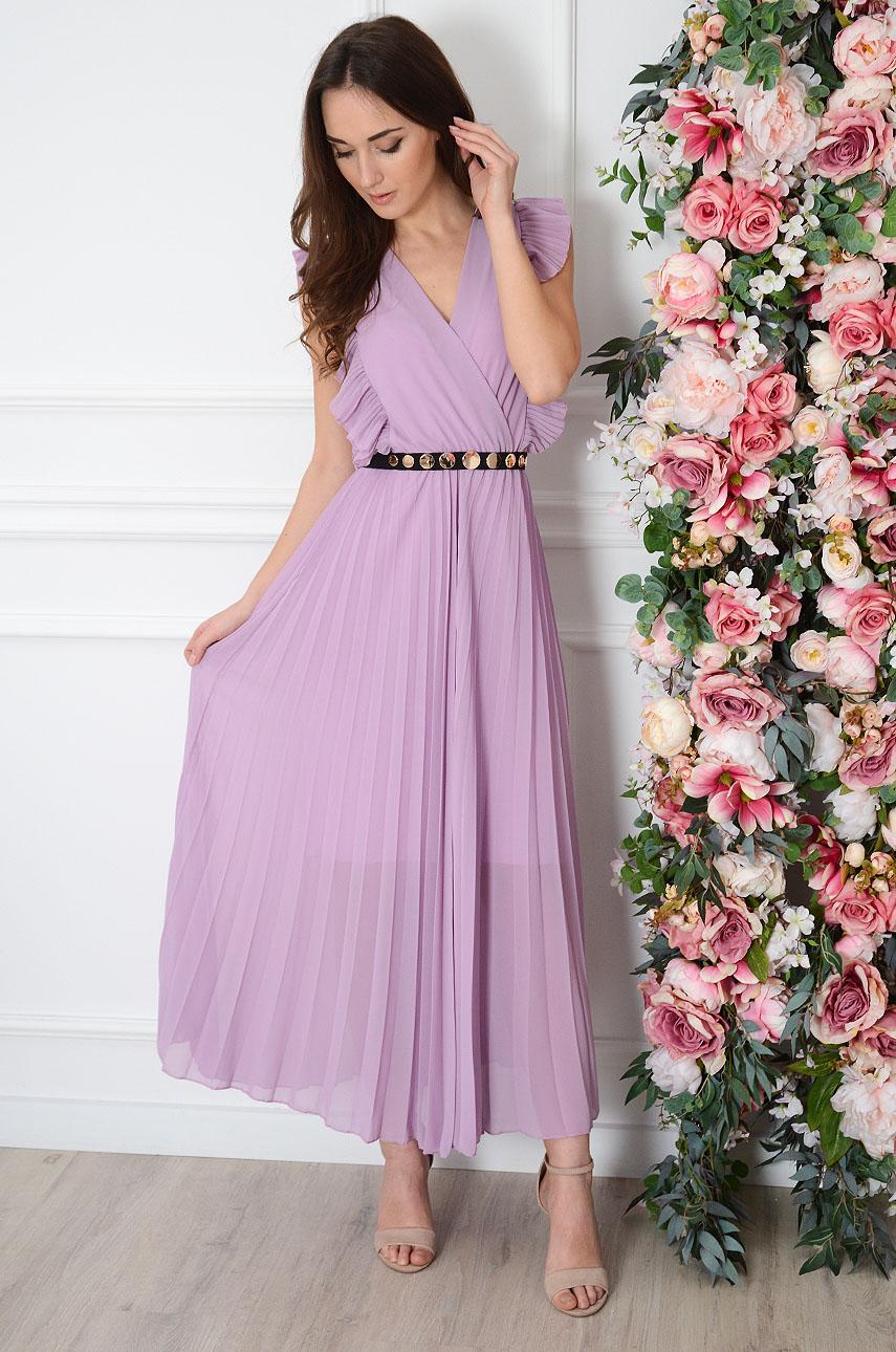 Sukienka maxi plisowana z falbankami liliowa Verda Rozmiar: UNI