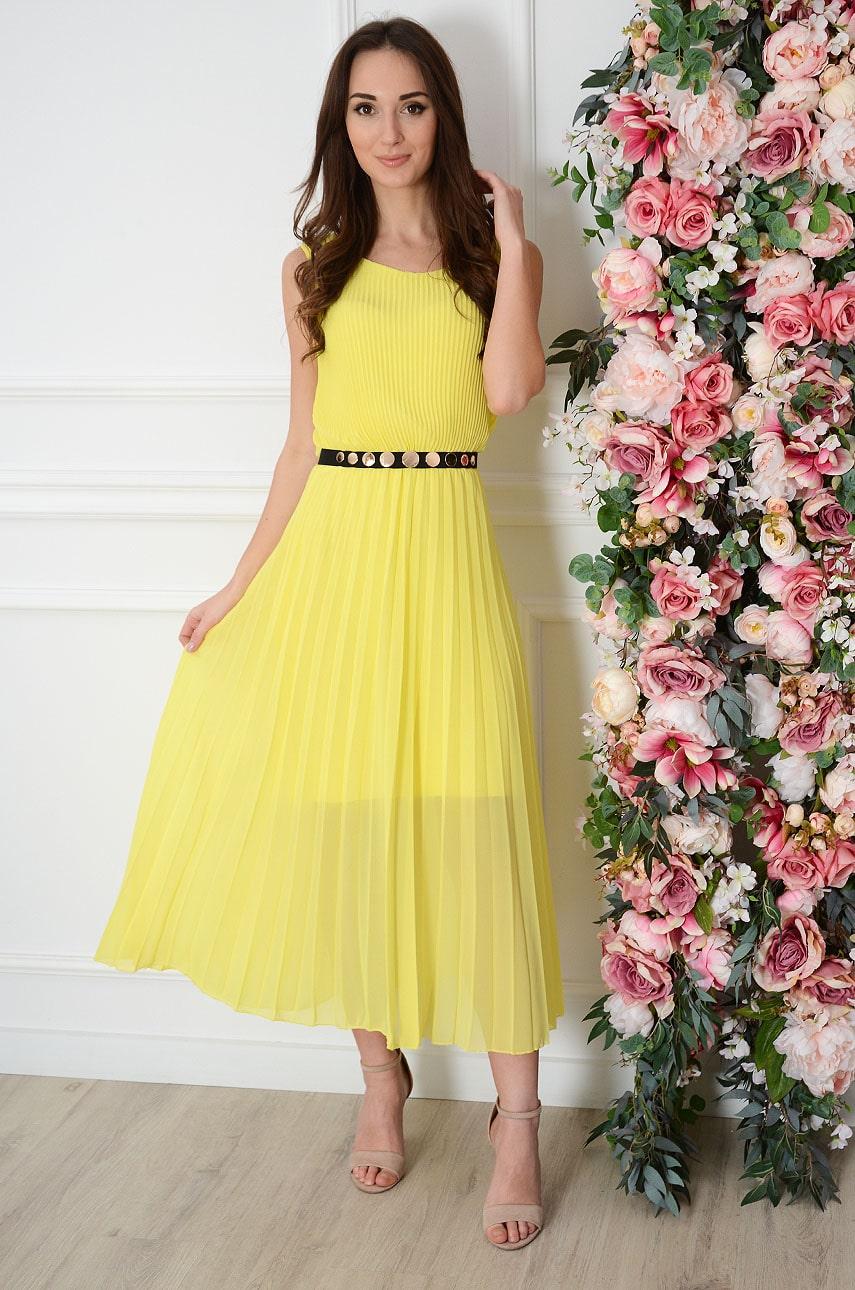 Sukienka maxi plisowana kopertowy dekolt cytrynowa Aysel Rozmiar: UNI