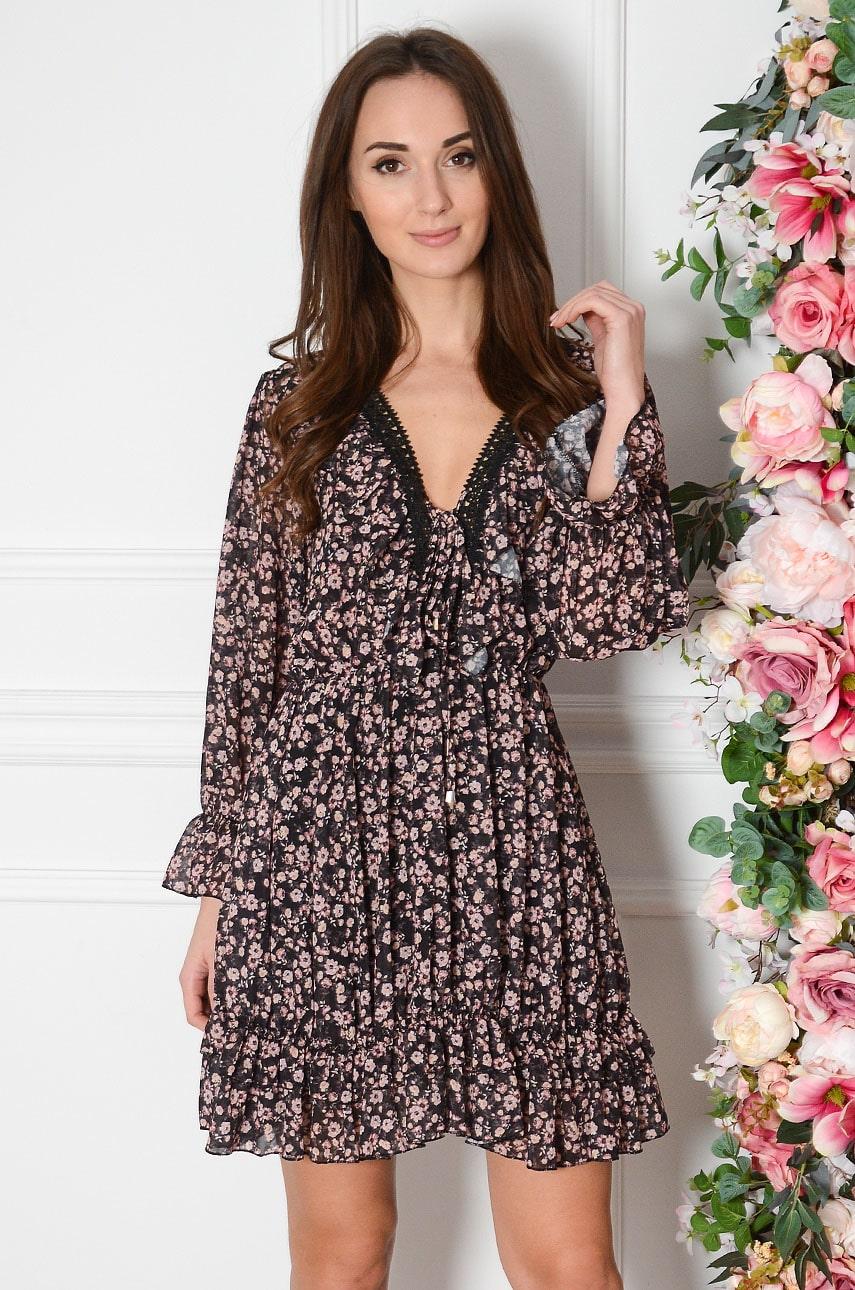 Sukienka szyfonowa z falbanką i gipiurą w drobne kwiaty czarna Rosie Rozmiar: UNI