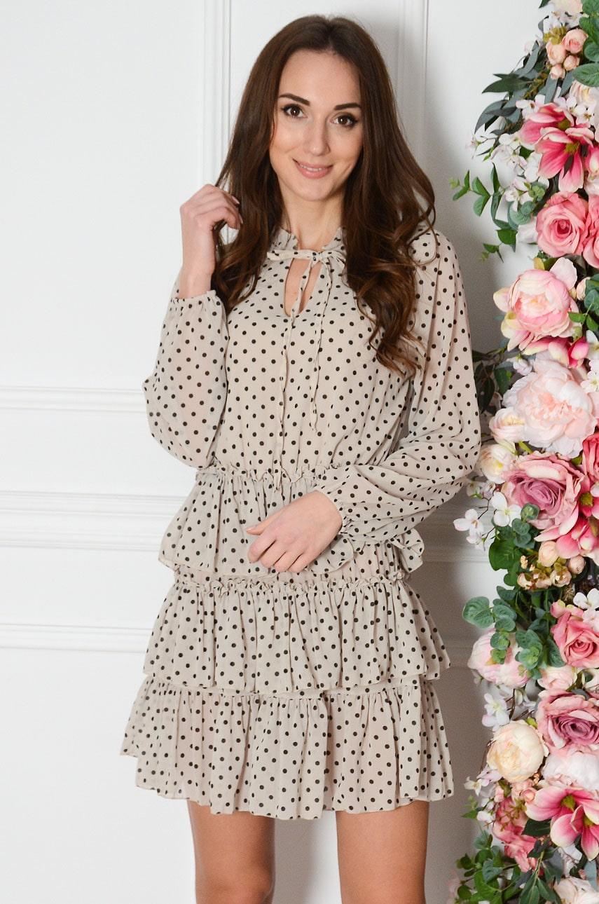 Sukienka szyfonowa z falban w grochy jasny beż Emet Rozmiar: UNI