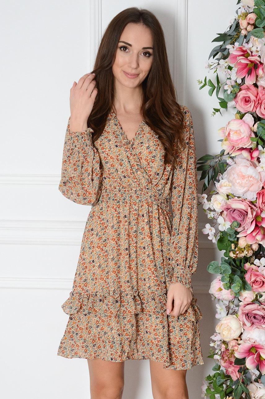 Sukienka szyfonowa z kwiatową łączkę beż Nitty Rozmiar: M/L