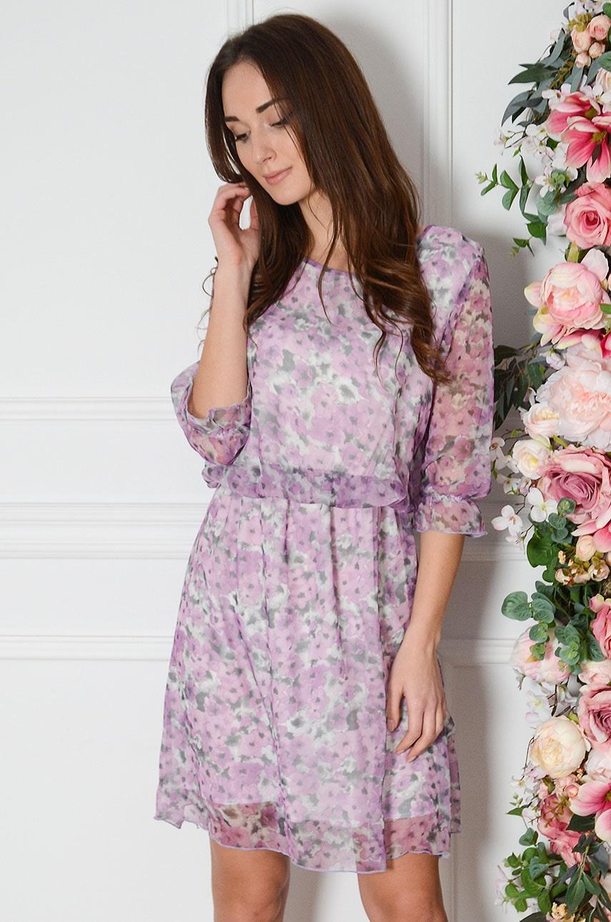 Sukienka szyfonowa w kwiaty liliowa Viola Rozmiar: L
