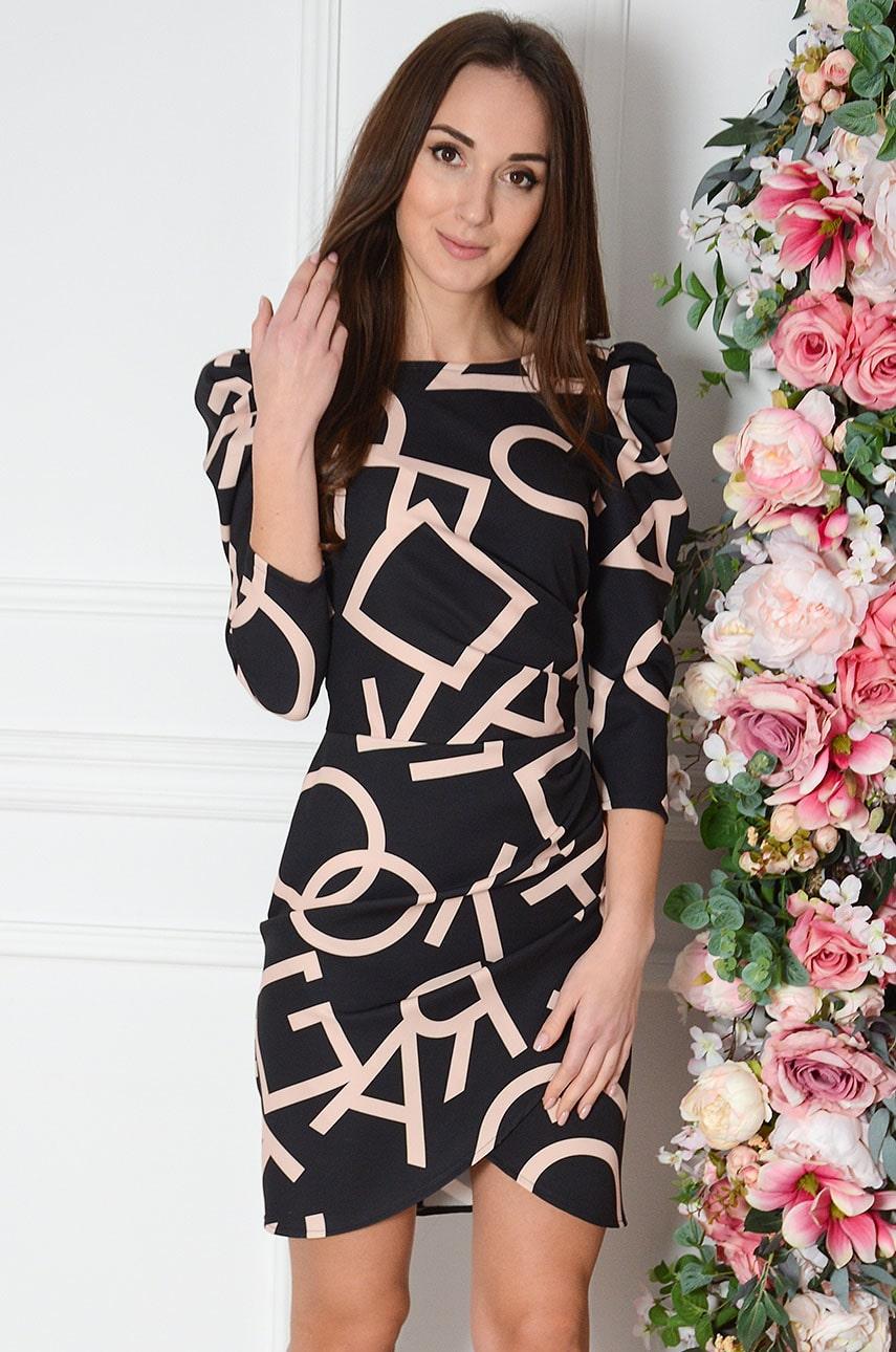 Sukienka z marszczeniem i bufkami we wzory czarno-beżowa Ofelia Rozmiar: XL