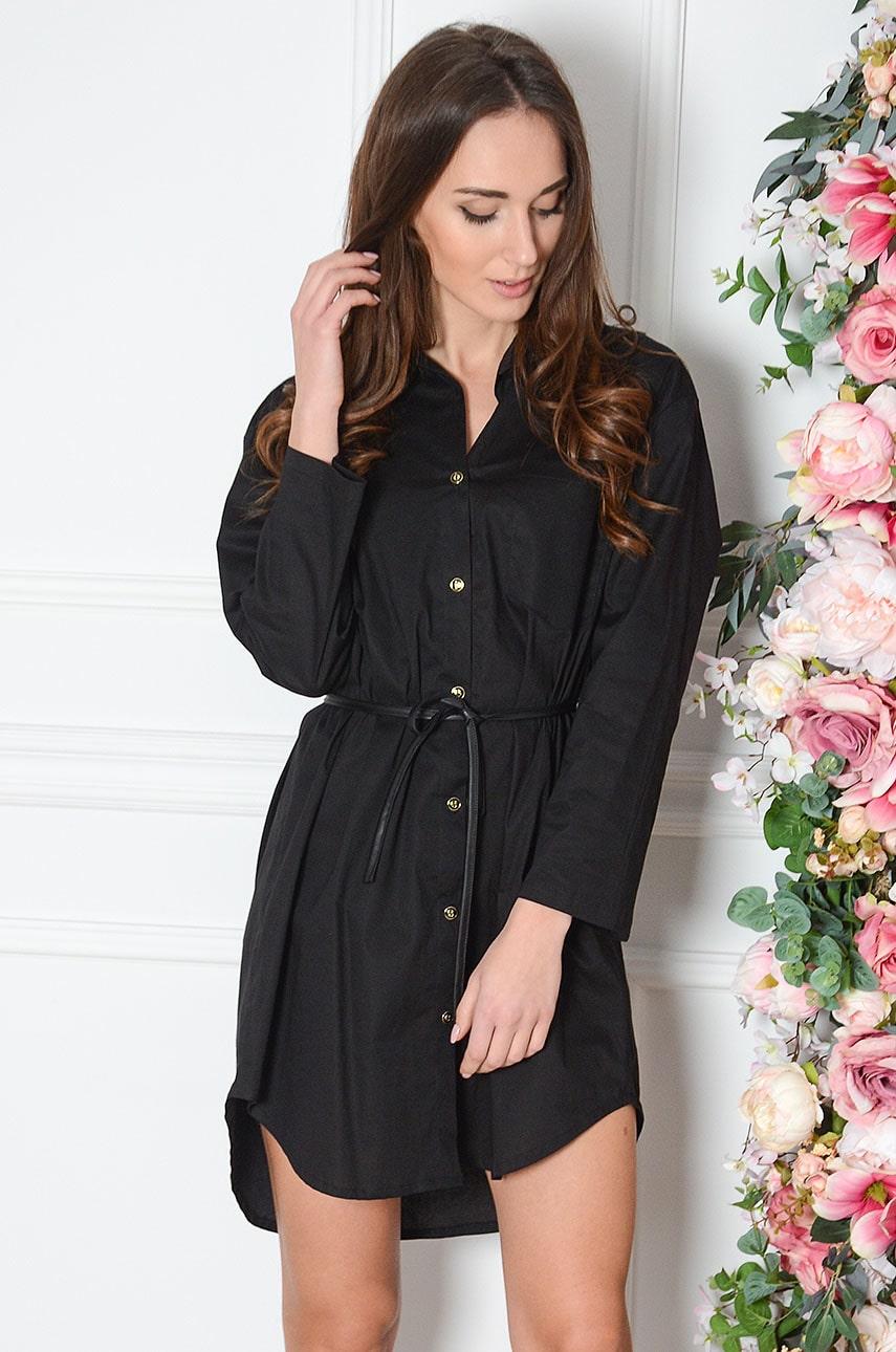 Sukienka koszulowa ze skórzanym wiązaniem czarna Azalia Rozmiar: S