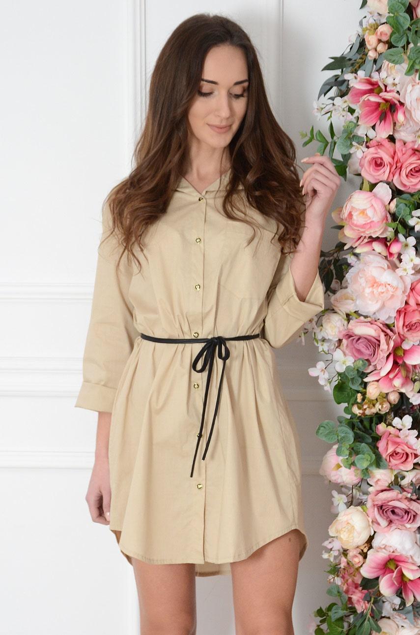 Sukienka koszulowa ze skórzanym wiązaniem beż Azalia Rozmiar: L