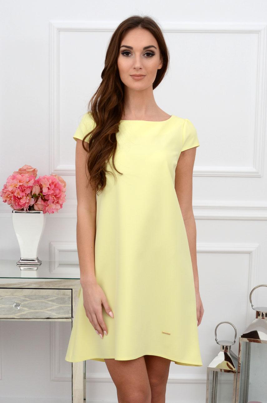 Sukienka z łezką dłuższy tył bananowa Rozmiar: XL