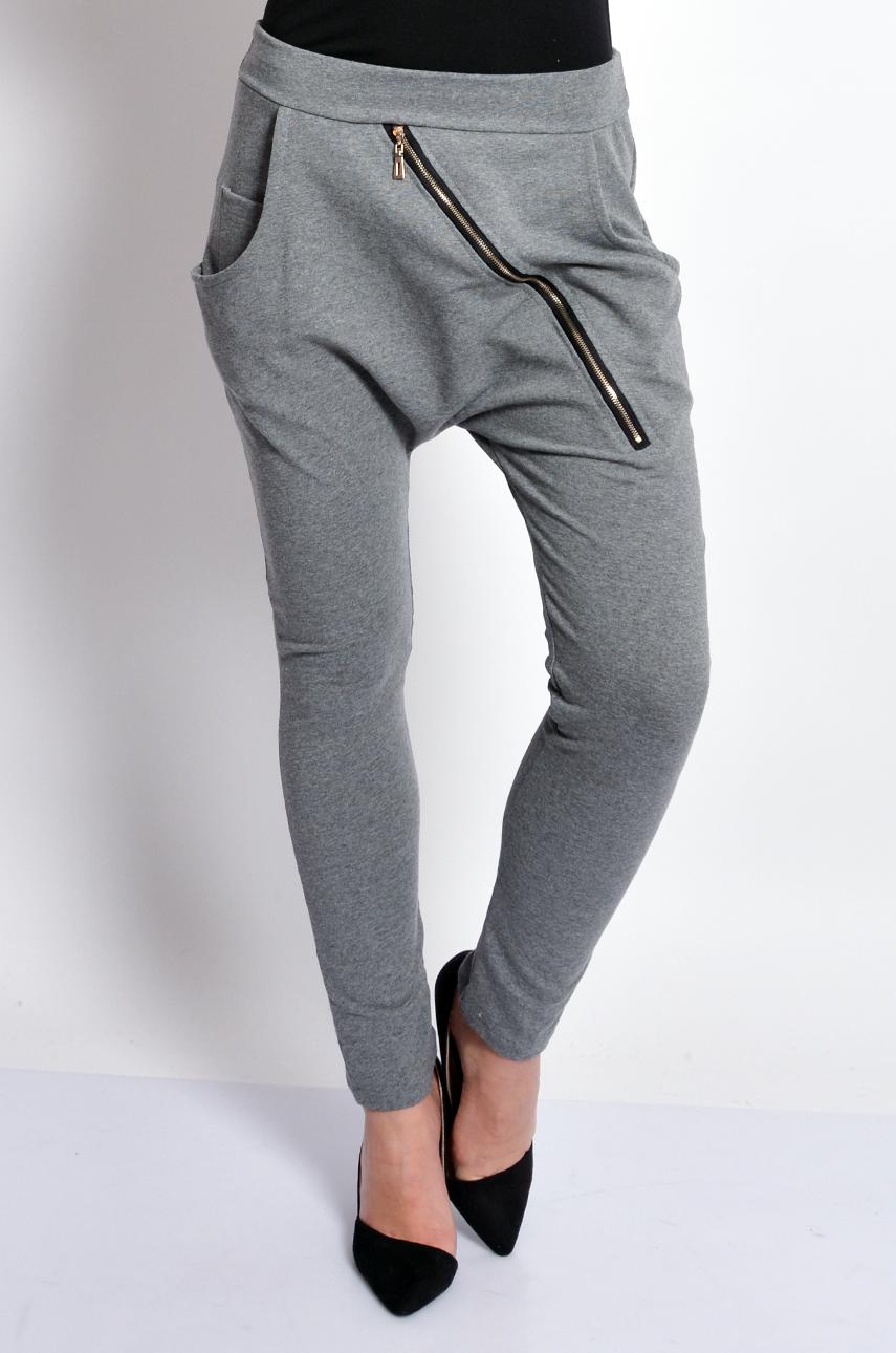 Spodnie dresowe baggy z zamkiem grafit