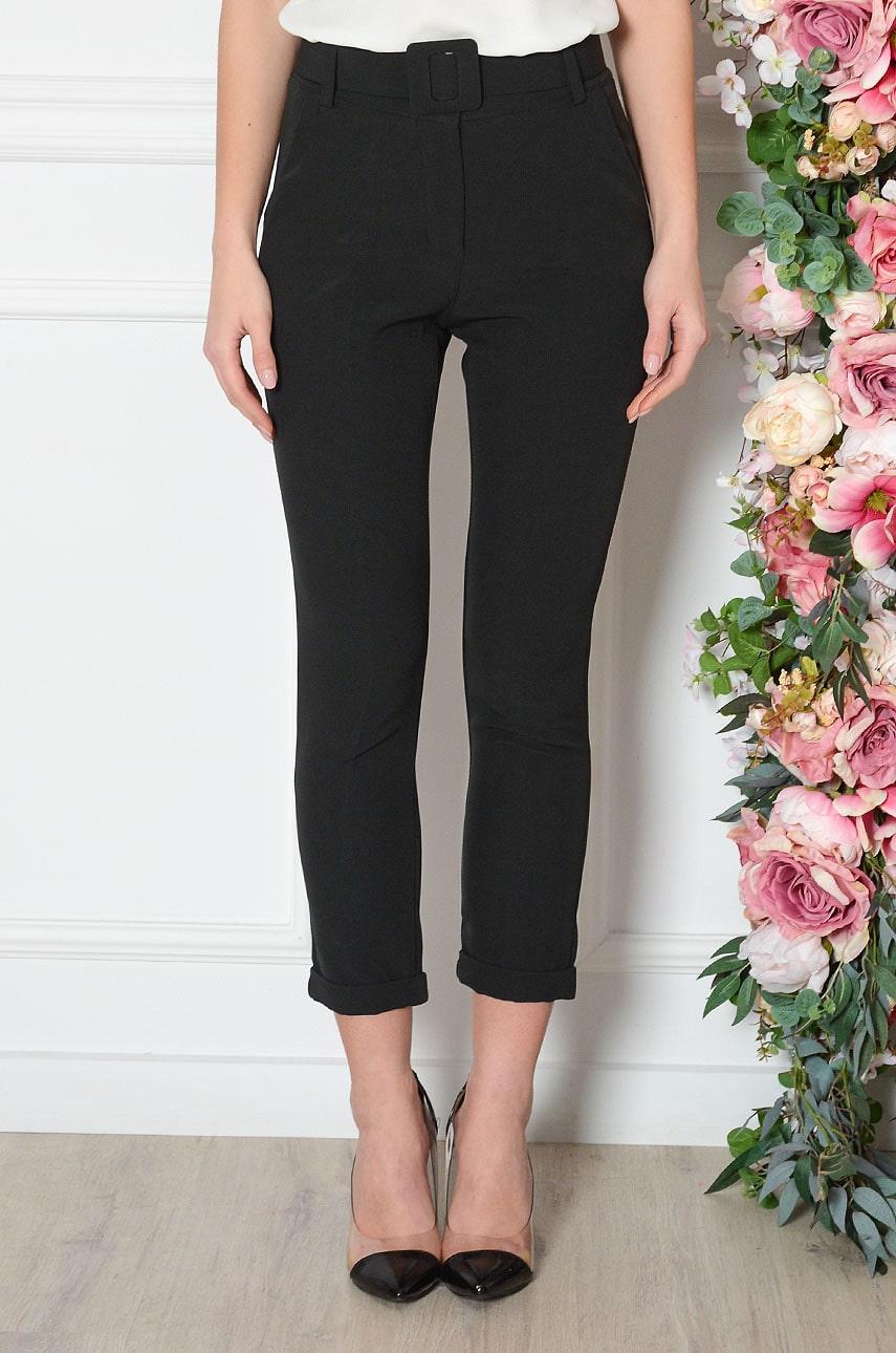 Eleganckie spodnie w kant z paskiem czarne Belbi Rozmiar: S