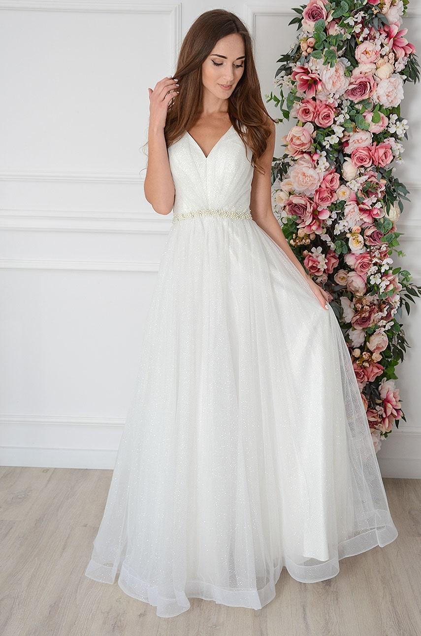 Sukienka maxi brokatowa z marszczonym tiulem biała Shanly Rozmiar: S