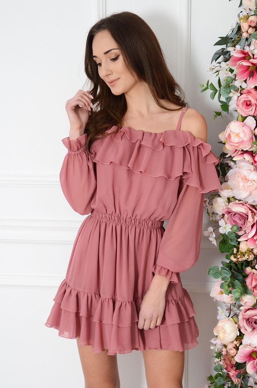 Sukienka szyfonowa a'la hiszpanka z falbaną jagodowa Sheila Rozmiar: UNI