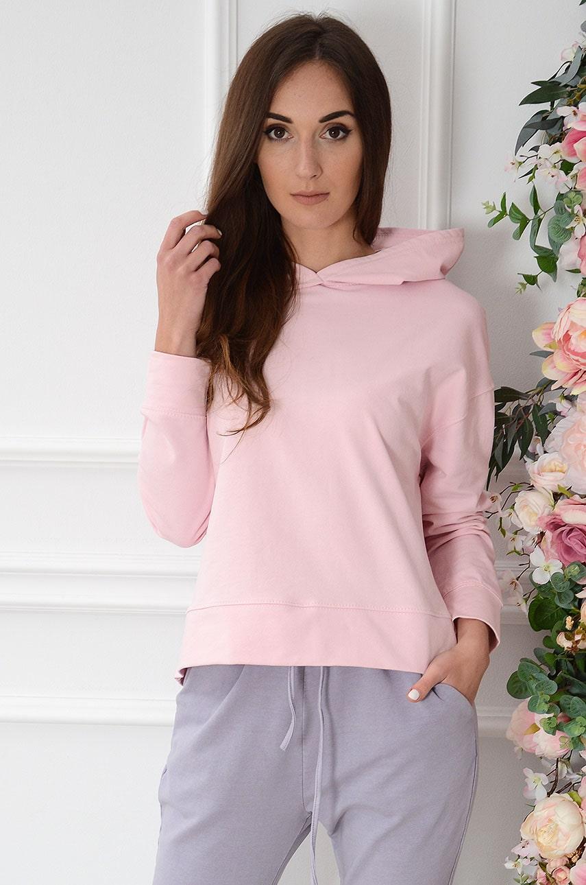 Bluza oversize z kapturem różowa Isseq Rozmiar: UNI