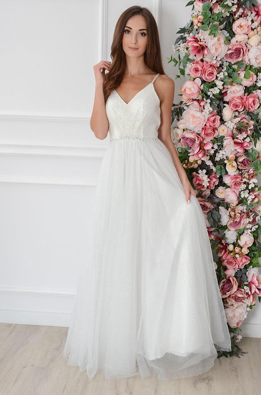 Sukienka maxi brokatowa z tiulu na ramiączkach biała Marcy Rozmiar: S