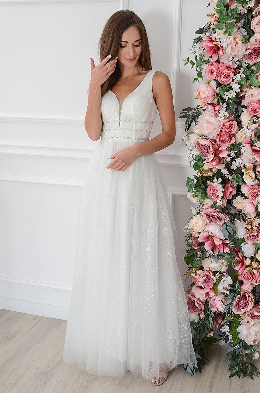 Sukienka maxi brokatowa z tiulu biała Clare Rozmiar: M
