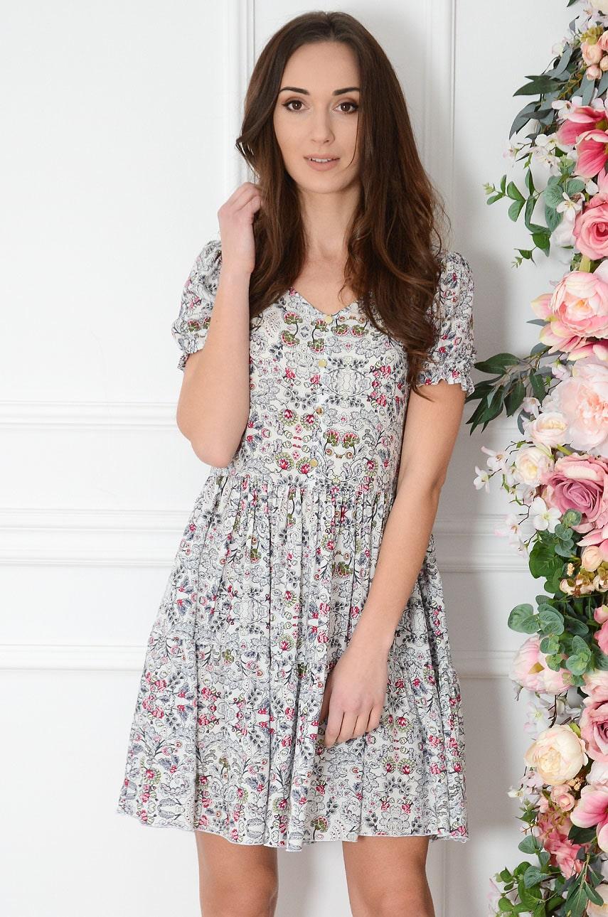 Sukienka oversize w roślinne printy biała Sabrina Rozmiar: M
