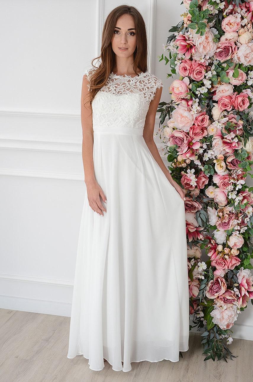 Sukienka maxi szyfonowa z koronkową górą biała Matilde Rozmiar: L