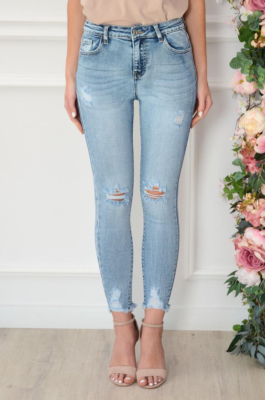 Spodnie jeansowe postrzępione z dziurami Dennis Rozmiar: XS