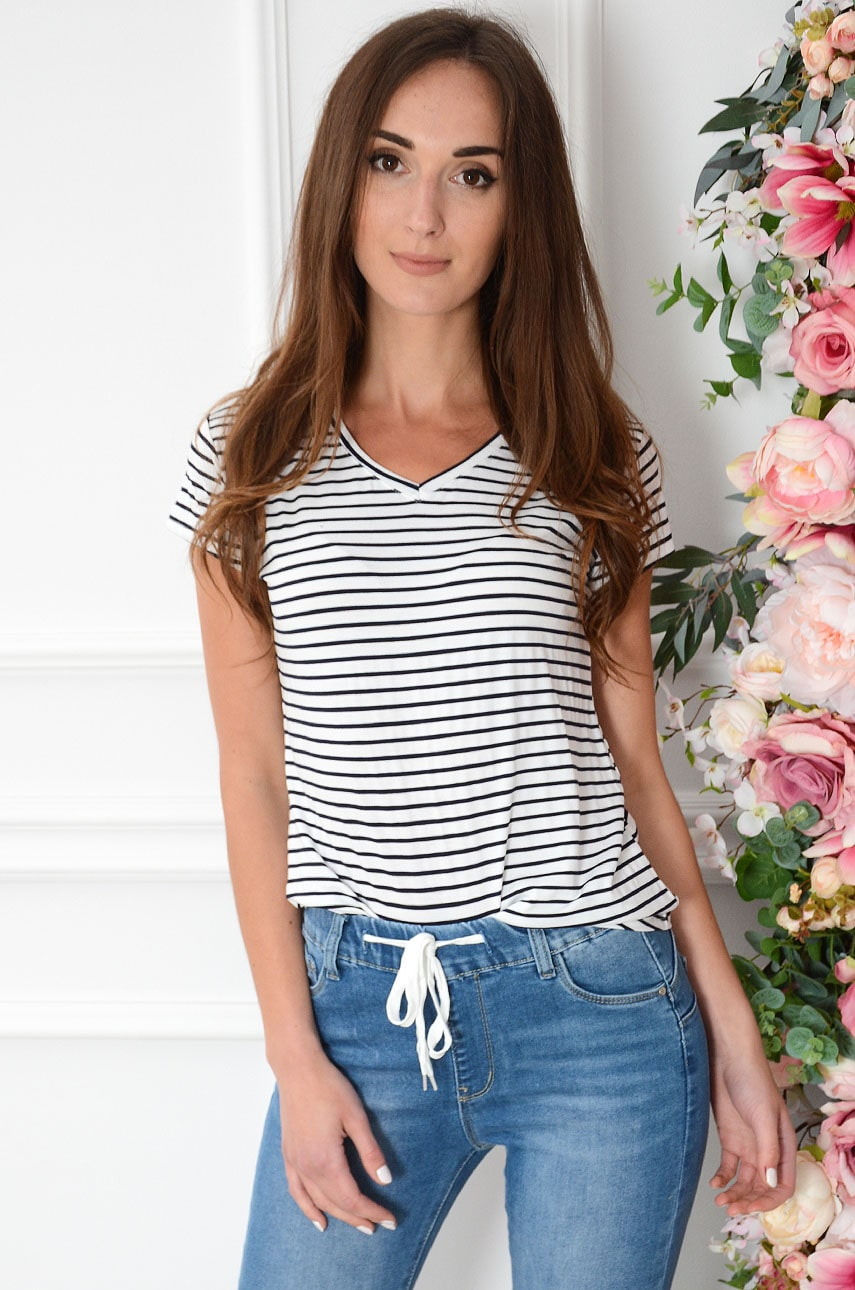 Bluzka T-shirt dekolt V w paski biało-granatowa Strip Rozmiar: XL/2XL